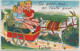 D 31  LUCHON  CARTE à SYSTEME   Au Petit Trop E Route Pour  Luchon - Cartoline Con Meccanismi