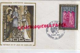 ANDORRE - VALLS D' ANDORRA - ENVELOPPE RETABLE SAINT JEAN DE CASELLES-1972- ARGININE VEYRON - Lettres & Documents
