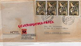 ANDORRE - VALLS D' ANDORRA - ENVELOPPE HOTEL COMTES D' URGELL LES ESCALDES -M. GERMANEAU LIMOGES 1977 - Lettres & Documents