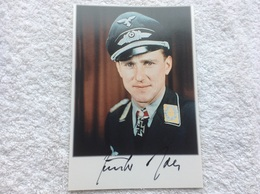 Repro Foto Günther Rall Mit Original Nachkriegs - Unterschrift Jagdflieger RK Träger Luftwaffe Fliegerei - Militaria
