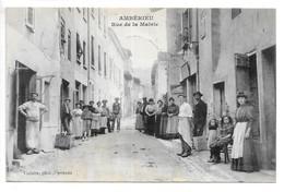 Cpa...Ambérieu-en-Bugey...(Ain)...rue De La Mairie...animée....1908...(commerces,tabac,boucher,ect...) - France