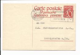 Schweiz P 107 I - 20 C Ziffer M. Ähren M. Rs Zudruck Schweiz. Bahnen Von Bern Nach Ludwigshafen Bedarfsverwendet - Interi Postali