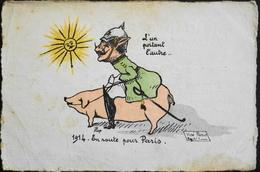 CPA - Militaria > Humoristiques - Illustrateur : REP 1914 - En Route Pour Paris - L'un Portant L'Autre - En L'état - Humoristiques