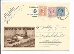 Belgien P 273 - 90 Ct. Wappenlöwe BiPo Oostende-Dover M. 20+10 C. ZF  N. Mechelen Bedarfsverwendet - Interi Postali