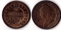 DUPRE - 1 DECIME SURFRAPPE DU 2 DECIME - 1789-1795 Monnaies Constitutionnelles