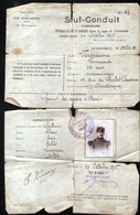 Sauf Conduit Temporaire  Pour La Zone De L'interieur,avec Photo Militaire, Voir Verso , Octobre 1915 - 1914-18