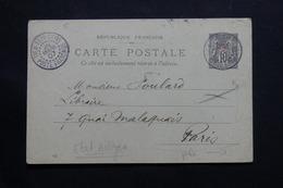 CHINE - Entier Postal Type Sage Surchargé De Tien Tsin Pour Paris En 1907 - L 54458 - Lettres & Documents