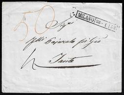 1852 - Lettera Non Affrancata Da Milano 28/1/1852 A Zante, In Svizzera, Segni Di Tassa Sul Fronte. I... - Lombardo-Vénétie