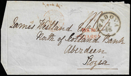 1854 - Fronte Di Lettera Con Bollo Di Arrivo Da Padova 7/10/1854 Per Aberdeen, Scozia. Bollo Di Tran... - Lombardo-Vénétie