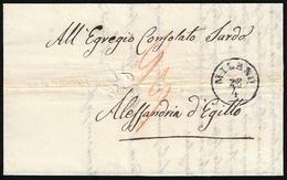 1854 - Lettera Non Affrancata Da Milano 28/4/1854 Ad Alessandria D'Egitto, Trasportata Con Il Lloyd ... - Lombardo-Vénétie