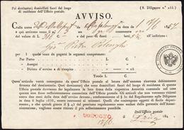1857 - Avviso Per Un Gruppo Contenente Oro Con La Corsa Della Malleposta Da Casalmaggiore 17/6/1857 ... - Lombardo-Vénétie
