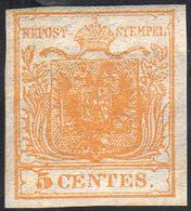 1850 - 5 Cent. Giallo Ocra (1), Nuovo, Gomma Originale, Perfetto. Molto Fresco! Cert. Diena.... - Lombardo-Vénétie