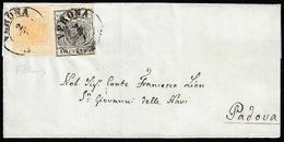 1852 - 5 Cent. Giallo Ocra, 10 Cent. Nero, Entrambi Carta A Mano (1,2), Perfetti, Su Sovracoperta Di... - Lombardo-Vénétie