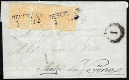 1854 - 5 Cent. Giallo Ocra (1), Striscia Di Tre, Perfetta, Su Lettera Da Desenzano 3/10/1854 A Veron... - Lombardo-Vénétie