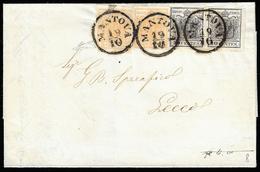 1854 - 5 Cent. Giallo Ocra, Due Esemplari, Uno Con Un Margine A Filo In Un Punto, 10 Cent. Nero, Due... - Lombardo-Vénétie