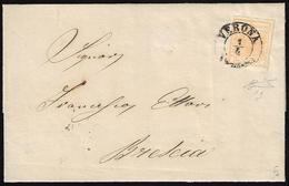 1854 - 5 Cent. Giallo Arancio (1g), Perfetto, Isolato Su Sovracoperta Di Circolare Da Verona 1/4/185... - Lombardo-Vénétie