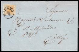 1857 - 5 Cent. Arancio (1h), Perfetto, Isolato Su Circolare Da Milano 25/9/1857 Per Città. Inconsuet... - Lombardo-Vénétie
