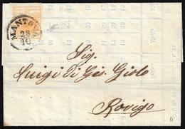 1858 - 5 Cent. Arancio (1h), Perfetto, Isolato Su Stampato Da Mantova 28/10/1858 Per Rovigo. Bella. ... - Lombardo-Vénétie