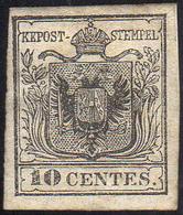 1850 - 10 Cent. Nero (2), Nuovo, Gomma Originale, Perfetto. Molto Fresco E Raro. Cert. Diena.... - Lombardo-Vénétie