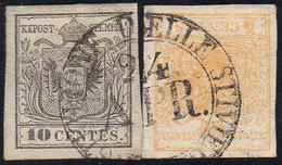 1850 - 10 Cent. Grigio Argenteo, 5 Cent. Giallo Ocra (2a,1), Perfetti, Usati A Castiglione Delle Sti... - Lombardo-Vénétie