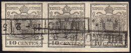 1850 - 10 Cent. Grigio Nero (2c), Striscia Di Tre, Perfetta, Usata A Milano 18/2/1852.... - Lombardo-Vénétie