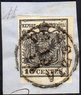 1850 - 10 Cent. Nero Intenso, Carta A Mano (2d), Perfetto, Usato Su Piccolo Frammento A Venezia 13/1... - Lombardo-Vénétie