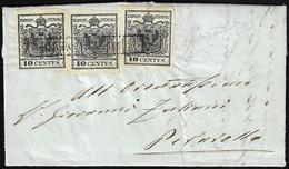 1855 - 10 Cent. Nero Intenso (2d), Un Esemplare Del I Sottotipo E Due Del II, Perfetti, Su Lettera D... - Lombardo-Vénétie