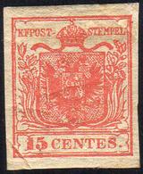1850 - 15 Cent. Rosso, I Tipo, Carta A Mano (3), Nuovo, Gomma Originale, Perfetto. Presenta Due Pli ... - Lombardo-Vénétie