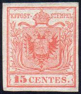1850 - 15 Cent. Rosso, I Tipo, Carta A Mano (3), Nuovo Senza Gomma, Perfetto. Bello. Chiavarello.... - Lombardo-Vénétie