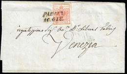 1850 - 15 Cent. Rosso, I Tiratura (3a), A Filo A Sinistra, Su Lettera Da Padova 10/6/1850 (primi Gio... - Lombardo-Vénétie