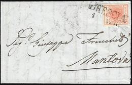 1851 - 15 Cent. Rosso, I Tipo, Cifra 5 Simile Ad Un 3 (3o), Perfetto, Su Busta Da Brescia 1/4/1851 A... - Lombardo-Vénétie