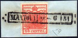 """1850 - 15 Cent. Rosso Carminio Scuro, """"rosso Fuoco"""", II Tipo, Carta A Mano (4c), Perfetto, Usato Su ... - Lombardo-Vénétie"""