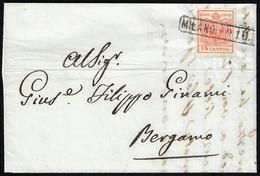 """1852 - 15 Cent. Rosso Vermiglio, II Tipo, Carta A Mano, Varietà """"s"""" Molto Deformata (4f), Perfetto, ... - Lombardo-Vénétie"""