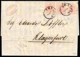 1852 - 15 Cent. Rosa, II Tipo, Carta A Mano (5), Striscia Di Tre, L'ultimo Esemplare Con Stampa Evan... - Lombardo-Vénétie