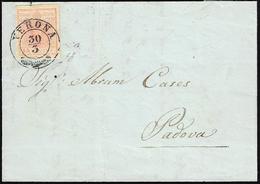 1852 - 15 Cent. Rosa, II Tipo, Carta A Mano, Spazio Tipografico In Basso (5f), Perfetto, Su Lettera ... - Lombardo-Vénétie