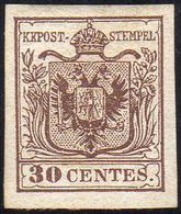 1850 - 30 Cent. Bruno, I Tipo (7), Nuovo Gomma Originale, Perfetto. Molto Fresco E Di Ottima Qualità... - Lombardo-Vénétie