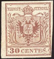 1850 - 30 Cent. Bruno, I Tiratura (7b), Nuovo Senza Gomma, Perfetto. A.Diena.... - Lombardo-Vénétie