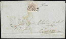1851 - 30 Cent. Bruno, I Tiratura (7b), Riutilizzato In Frode Postale Previo Tentativo Di Lavaggio D... - Lombardo-Vénétie