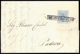 1852 - 45  Cent. Azzurro, I Tipo, Carta A Mano, Bordo Di Foglio In Alto (10), Perfetto, Su Lettera D... - Lombardo-Vénétie