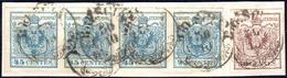 1852 - 45 Cent. Azzurro Ardesia, II Tipo, Striscia Orizzontale Di Quattro, 30 Cent. Bruno Lillaceo, ... - Lombardo-Vénétie