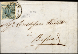 1854 - 45 Cent. Azzurro Ardesia, II Tipo (11), Ben Marginato, Con Vistosa Pli D'accordeon Centrale, ... - Lombardo-Vénétie