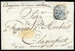 1854 - 45 Cent. Azzurro Verdastro, II Tipo, Carta A Mano (11a), Perfetto, Su Sovracoperta Di Lettera... - Lombardo-Vénétie
