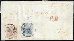 1856 - 45 Cent. Azzurro Oltremare, II Tipo, Carta A Mano, 30 Cent. Bruno, II Tipo, Carta A Macchina,... - Lombardo-Vénétie