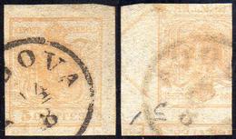 1851 - 5 Cent. Giallo Ocra, Stampa Recto-verso, Controstampa Capovolta Con Parti Di Croce Di S.Andre... - Lombardo-Vénétie
