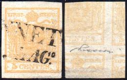 1851 - 5 Cent. Giallo Ocra, Stampa Recto-verso, Controstampa Diritta (13A), Perfetto, Usato A Cannet... - Lombardo-Vénétie