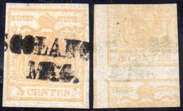 1851 - 5 Cent. Giallo Ocra, Stampa Recto-verso, Controstampa Diritta (13A), Perfetto, Usato A Toscol... - Lombardo-Vénétie