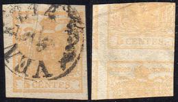 1851 - 5 Cent. Giallo Ocra, Stampa Recto-verso, Controstampa Diritta, Pli D'accordeon (13A), Perfett... - Lombardo-Vénétie