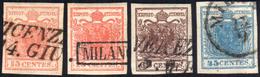 1851 - I Emissione, Carta A Coste Verticali (14/17), Usati, Perfetti. Molto Belli! A.Zanaria Per Il ... - Lombardo-Vénétie