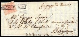 1851 - 15 Cent. Rosso Vermiglio, I Tipo, Carta A Coste Verticali (14), Perfetto, Su Lettera Da Milan... - Lombardo-Vénétie