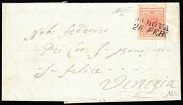 1851 - 15 Cent. Rosso Vermiglio, I Tipo, Carta A Coste Verticali (14), Perfetto, Su Lettera Da Padov... - Lombardo-Vénétie